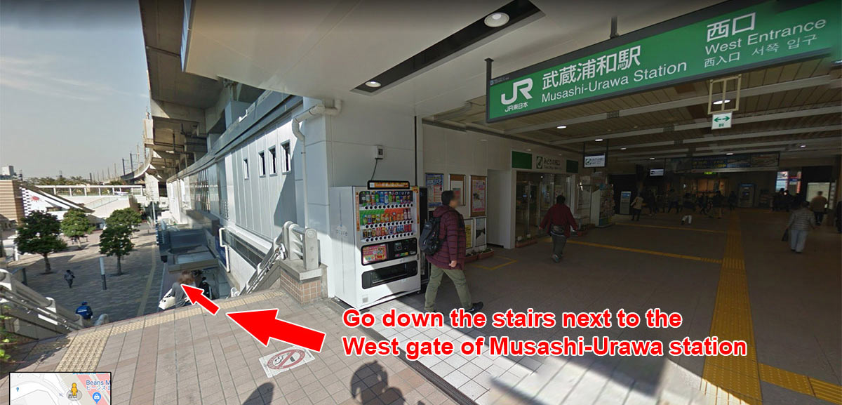 Go down the stairs next to the West gate of Musashi-Urawa station